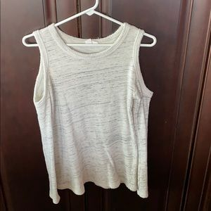 Grey and white cutout shoulder sweater